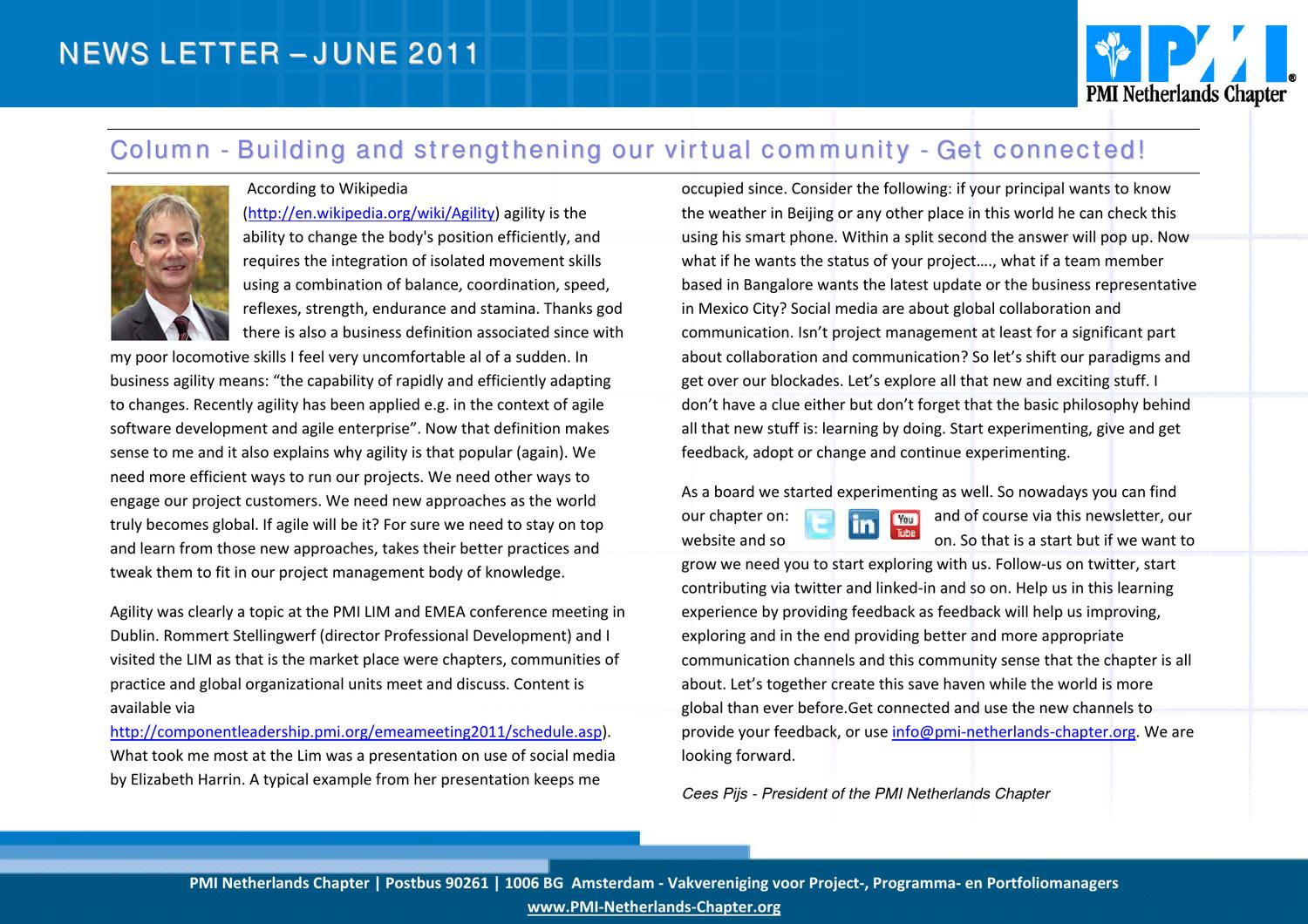 201106 Pmi Netherlands Newsletter By Pmi Netherlands Chapter Issuu