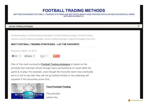 Football trading strategy method forum