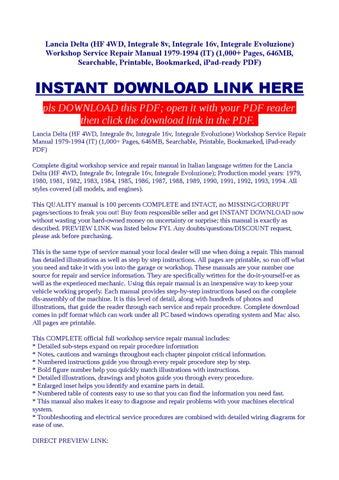 lancia delta intergrale digital workshop repair manual 1986 1993