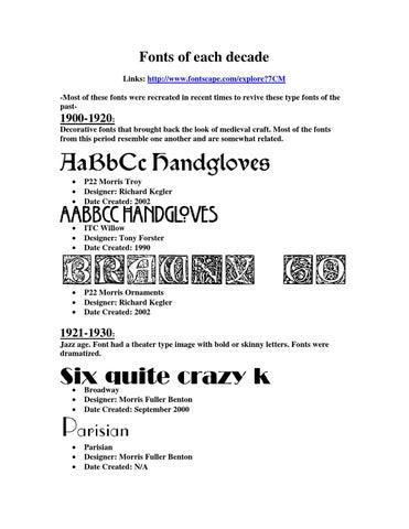 Fonts of each decade by Brandon Henestofel - issuu