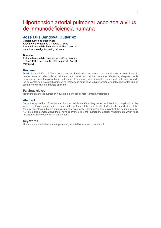 Disfunción endotelial e hipertensión pulmonar