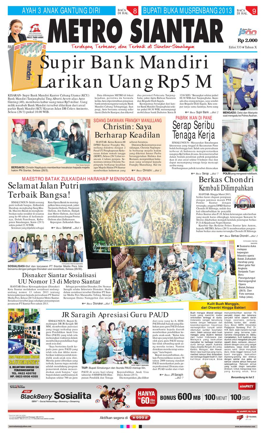 Epaper Metro Siantar Online By Issuu Rkb Tegal Produk Ukm Bumn Emping Ubi