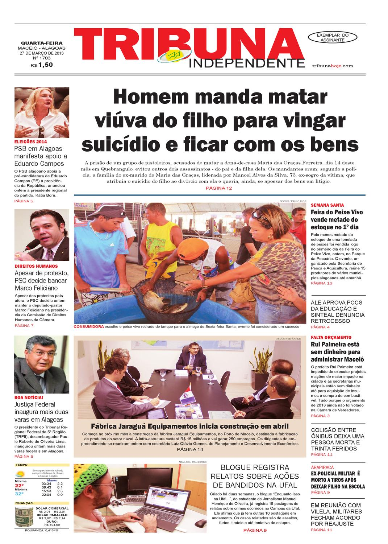 Edição nº 1703 - 27 de março de 2013 by Tribuna Hoje - issuu 037152a486dea