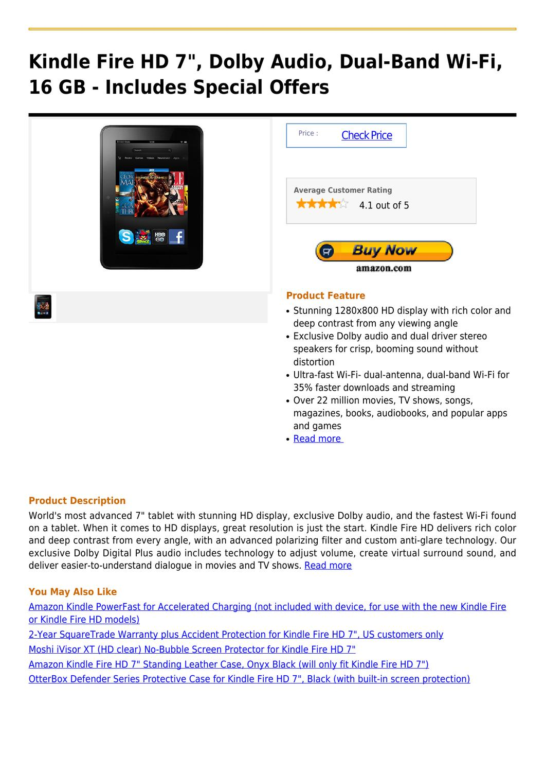 Kindle Fire HD 7 , Dolby Audio, Dual-Band Wi-Fi, 16 GB