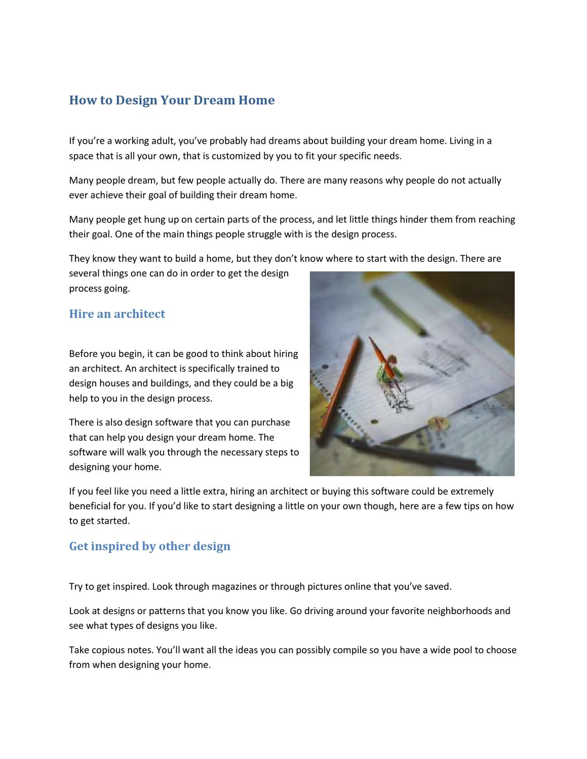 How to Design Your Dream Home by Donald Quixote - issuu
