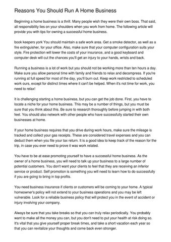 reasons you should run a home business by hedi have issuu