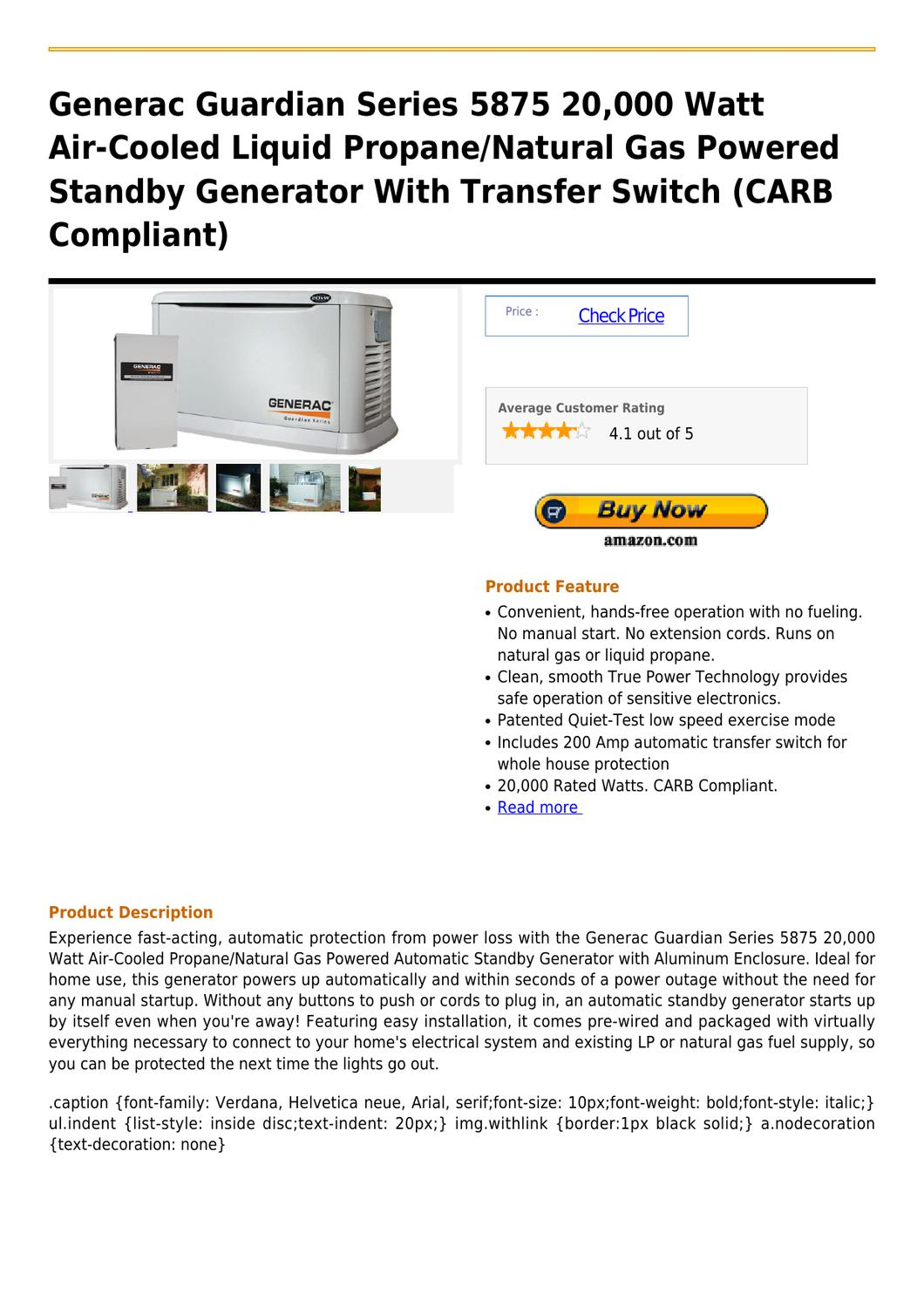 Generac Guardian Series 5875 20,000 Watt Air-Cooled Liquid Propane