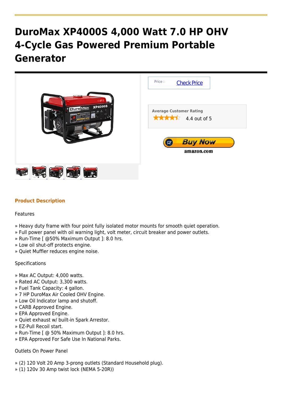 DuroMax XP4000S 4,000 Watt 7.0 HP OHV 4-Cycle Gas Powered Premium Portable Generator by ricky noelan - issuu