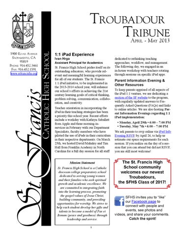 April may troubadour tribune by st francis high school issuu page 1 fandeluxe Gallery