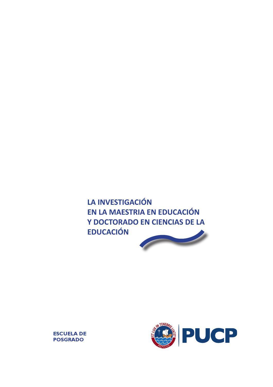 investigación posgrado educación PUCP by Luis Sime - issuu