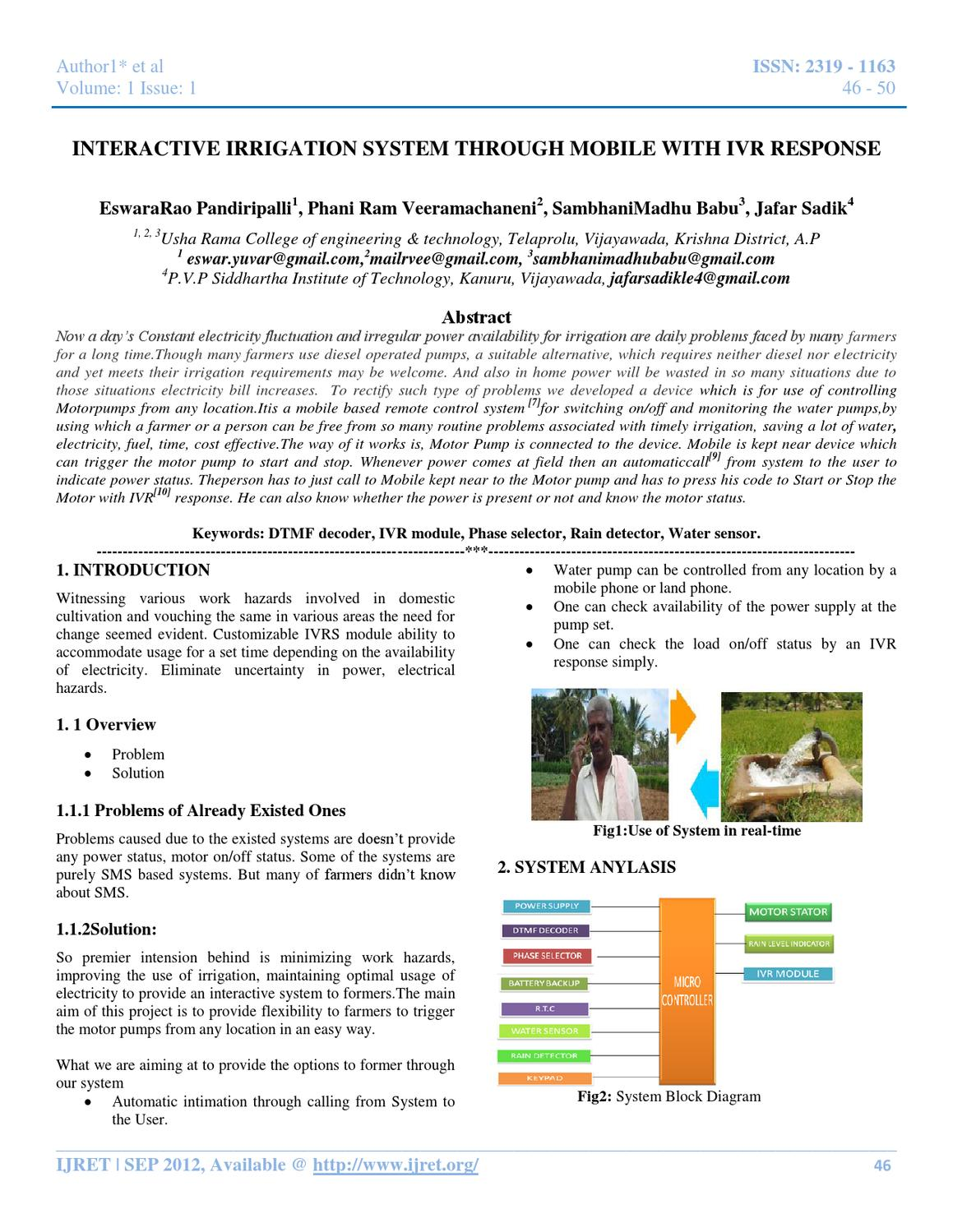 Interactive Irrigation System Through Mobile With Ivr Response By Program For 8870 Dtmf Interfacing 8051 Ijret Editor Issuu