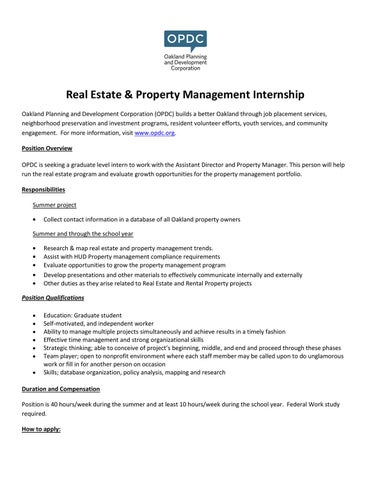 RealEstateAndPropertyManagementInternJobDescription By