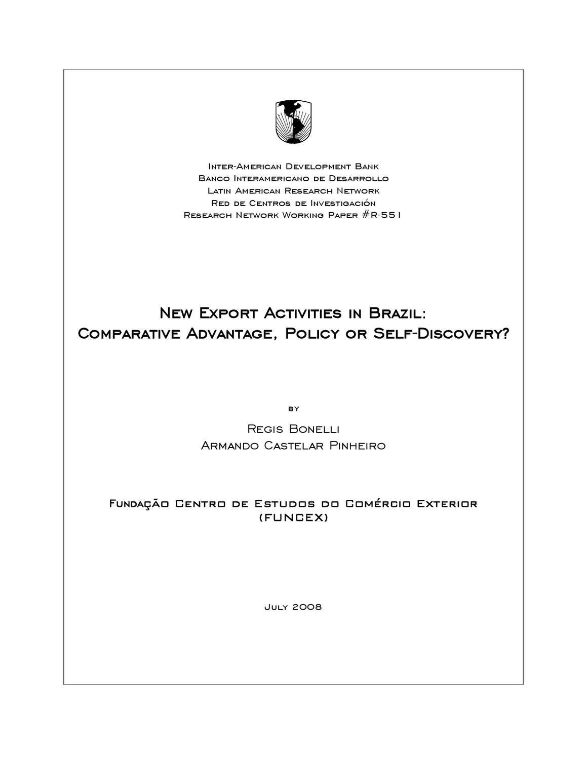 new export activities in brazil: comparative advantage, policy or