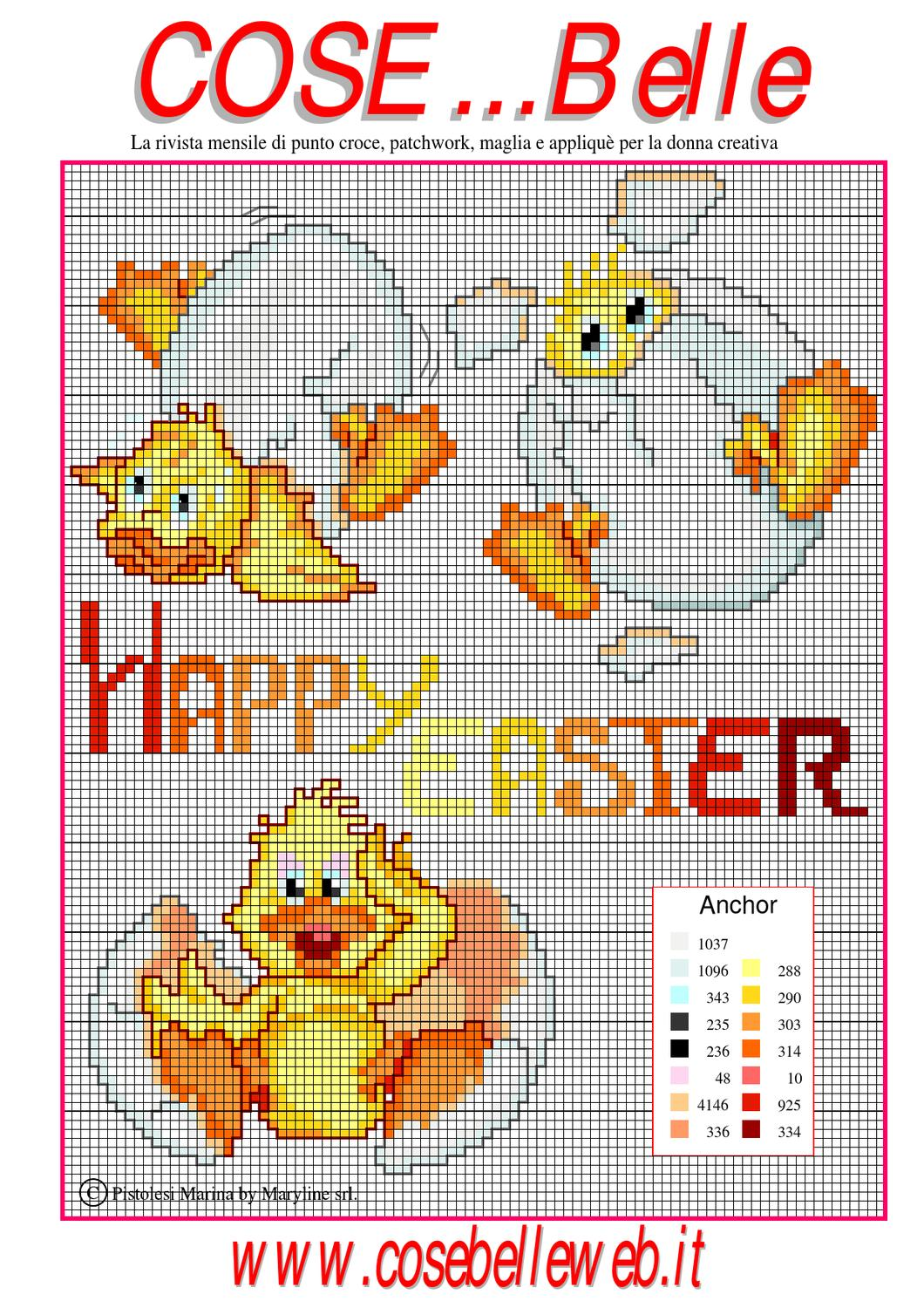 Schema punto croce happy easter by cosebelleweb issuu for Schema punto croce orsetto