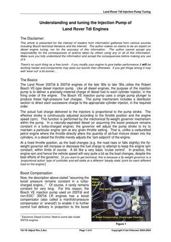 Land Rover 200tdi Fuel Pump Adjustment ✓ Land Rover Car