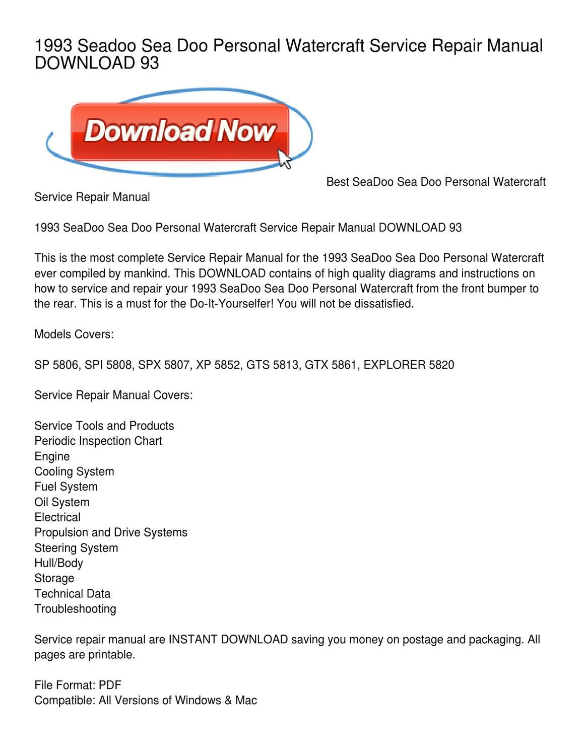 1993 Seadoo Sea Doo Personal Watercraft Service Repair Manual DOWNLOAD 93  by Phyllis Vasquez - issuu