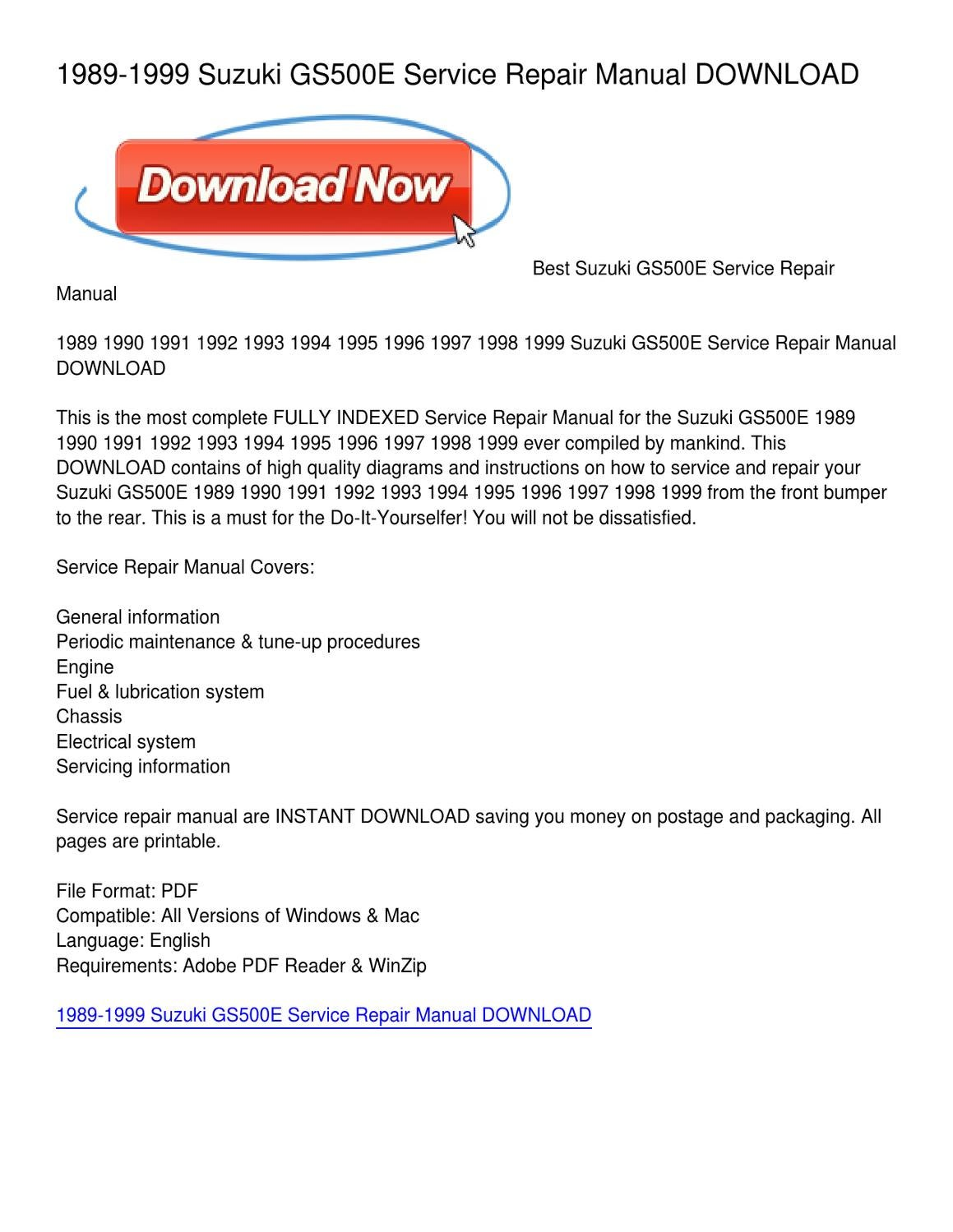 1989-1999 Suzuki GS500E Service Repair Manual DOWNLOAD by Kimberly Fisher -  issuu