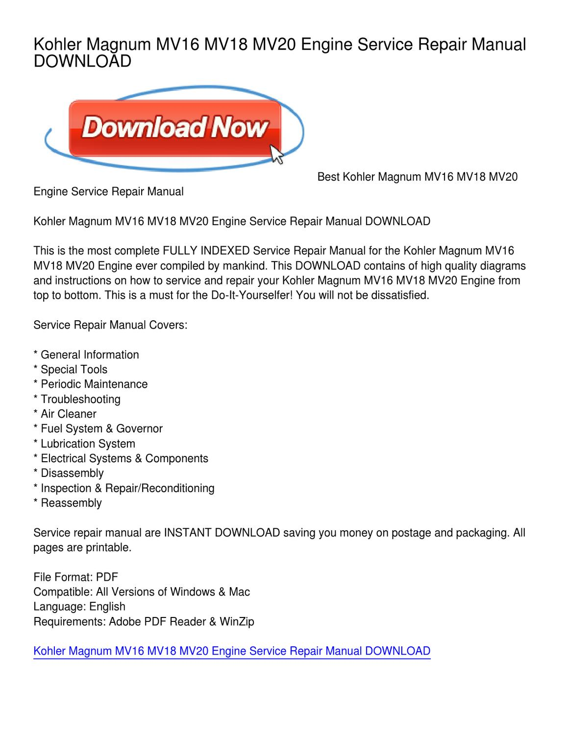Kohler Magnum MV16 MV18 MV20 Engine Service Repair Manual DOWNLOAD by Dora  Warner - issuu