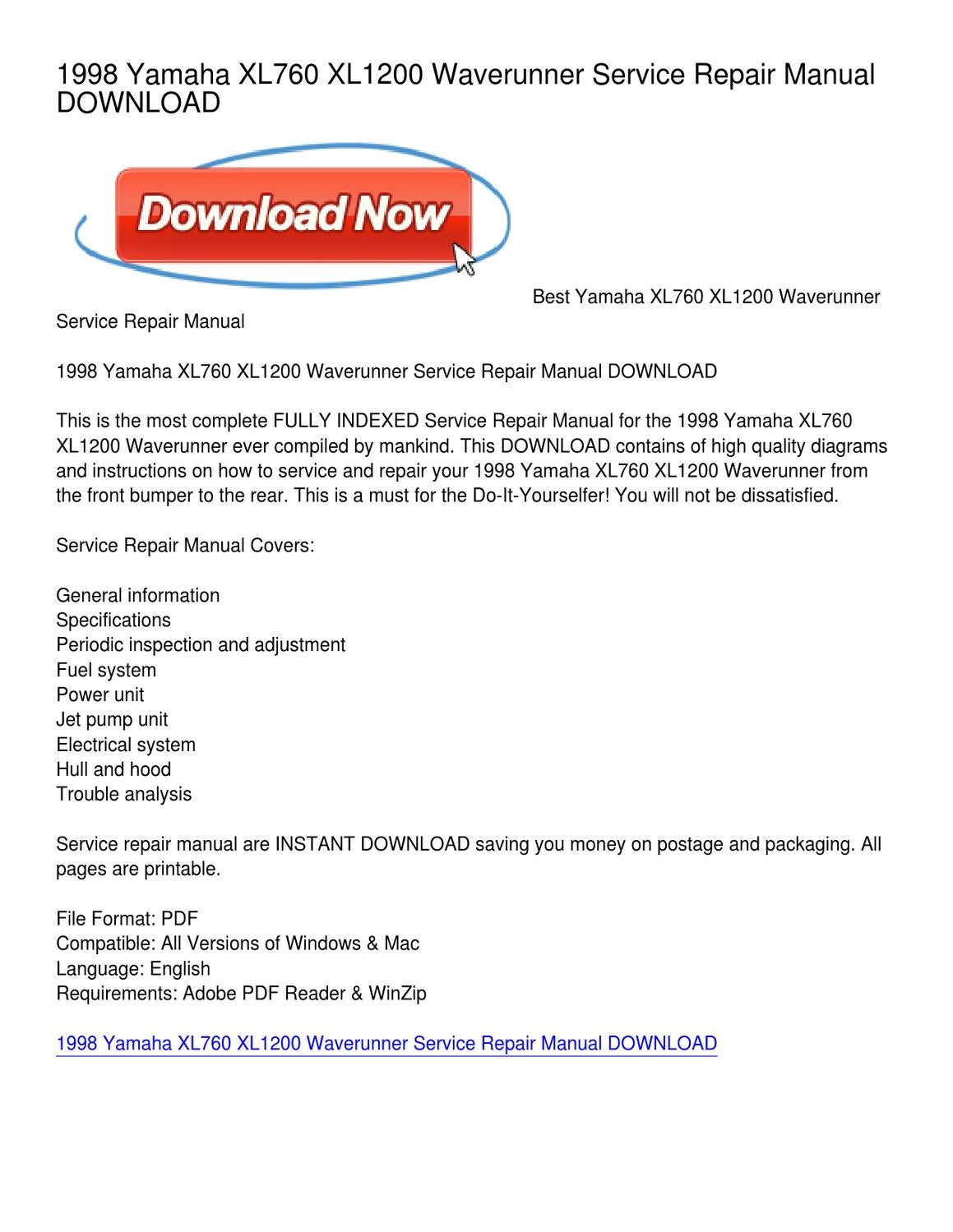 1998 Yamaha XL760 XL1200 Waverunner Service Repair Manual DOWNLOAD by  Michael King - issuu
