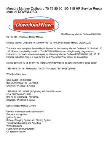1988 mercury 90 hp outboard motor manual