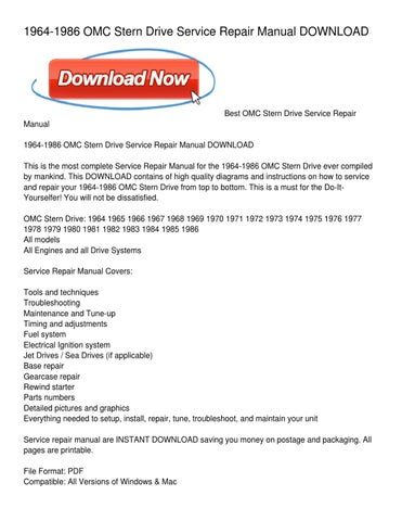 OMC STERN DRIVE 1964-1986 Repair Manual Boating Sports & Outdoors ...