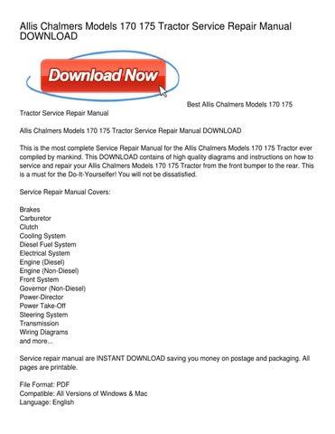 allis chalmers models 170 175 tractor service repair manual downloadpage 1 allis chalmers models 170