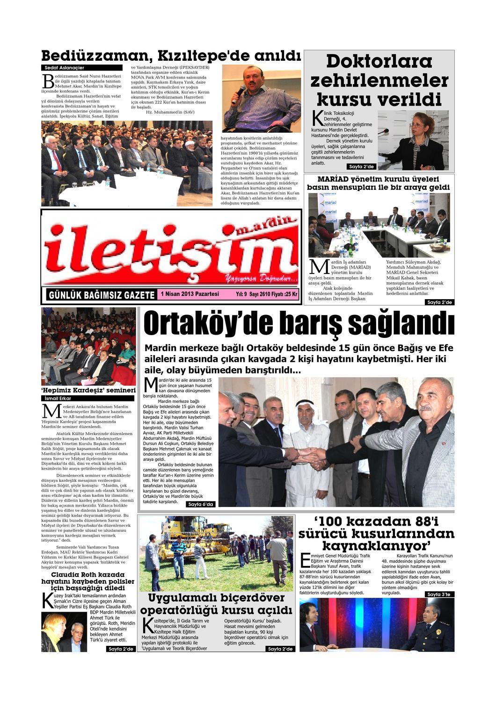 1 Nisan 2013 Pazartesi Gazete Sayfalari By Mardin Iletisim