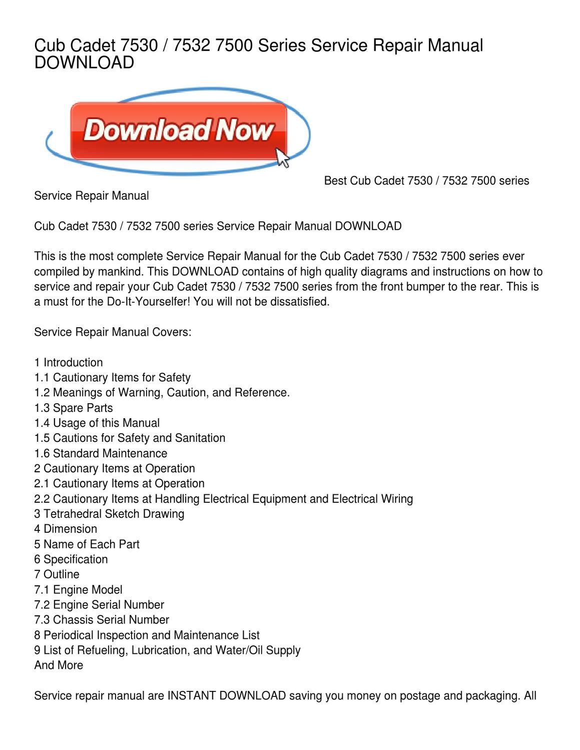Cub Cadet 7530 _ 7532 7500 Series Service Repair Manual DOWNLOAD by  Mohammed Rubin - issuu