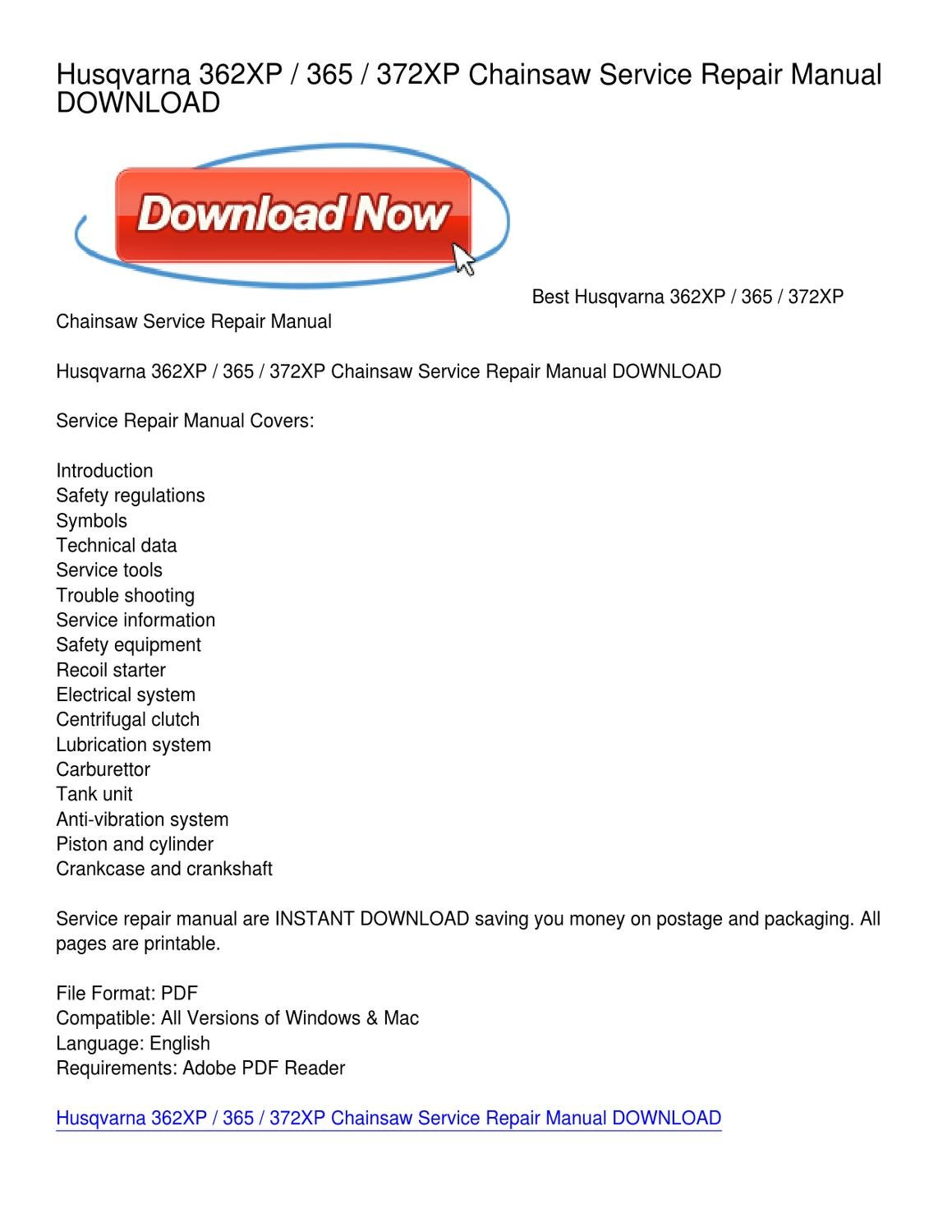Husqvarna 362XP _ 365 _ 372XP Chainsaw Service Repair Manual DOWNLOAD by  Phyllis Vasquez - issuu