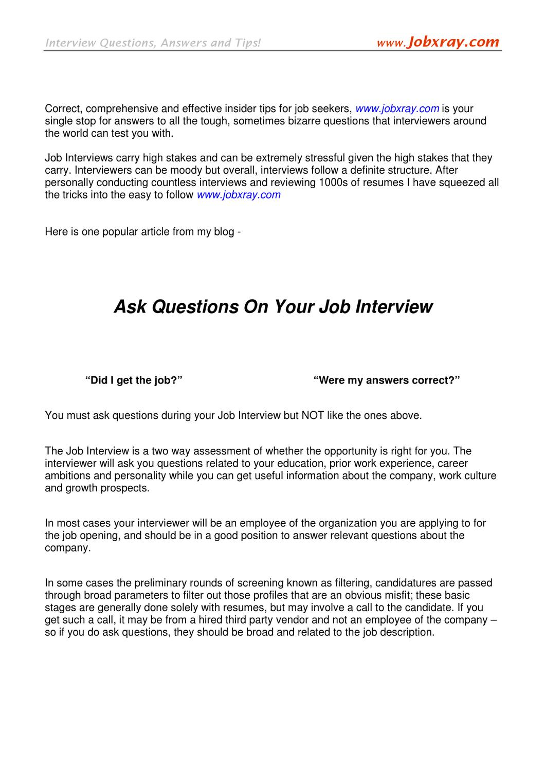 Ask Questions In Your Job Interview (from Www.jobxray.com) By Jobxray  Jobxray   Issuu
