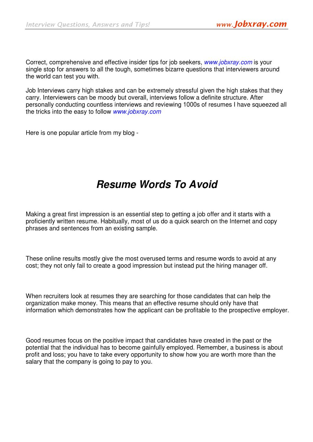 Resume Words To Avoid (from Www.jobxray.com) By Jobxray Jobxray   Issuu