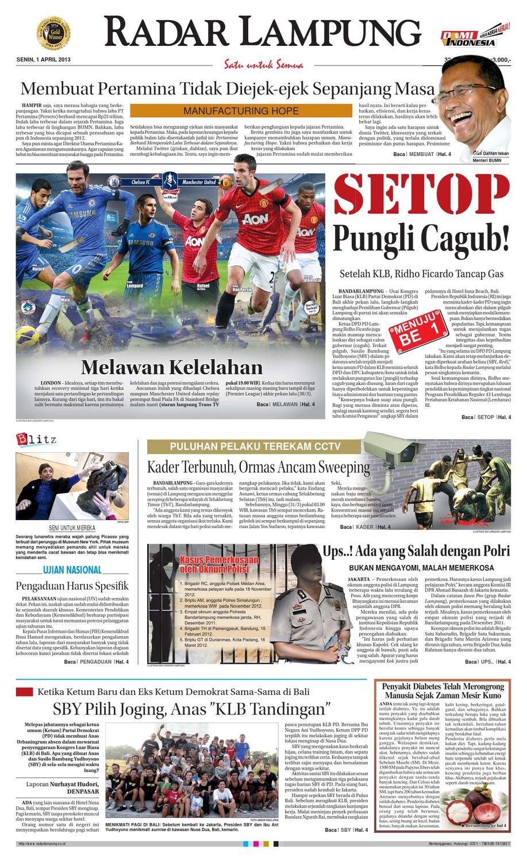 Radar Lampung Senin 1 April 2013 By Ayep Kancee Issuu Produk Ukm Bumn Outer Pendek Ijo Coklat Berkerah