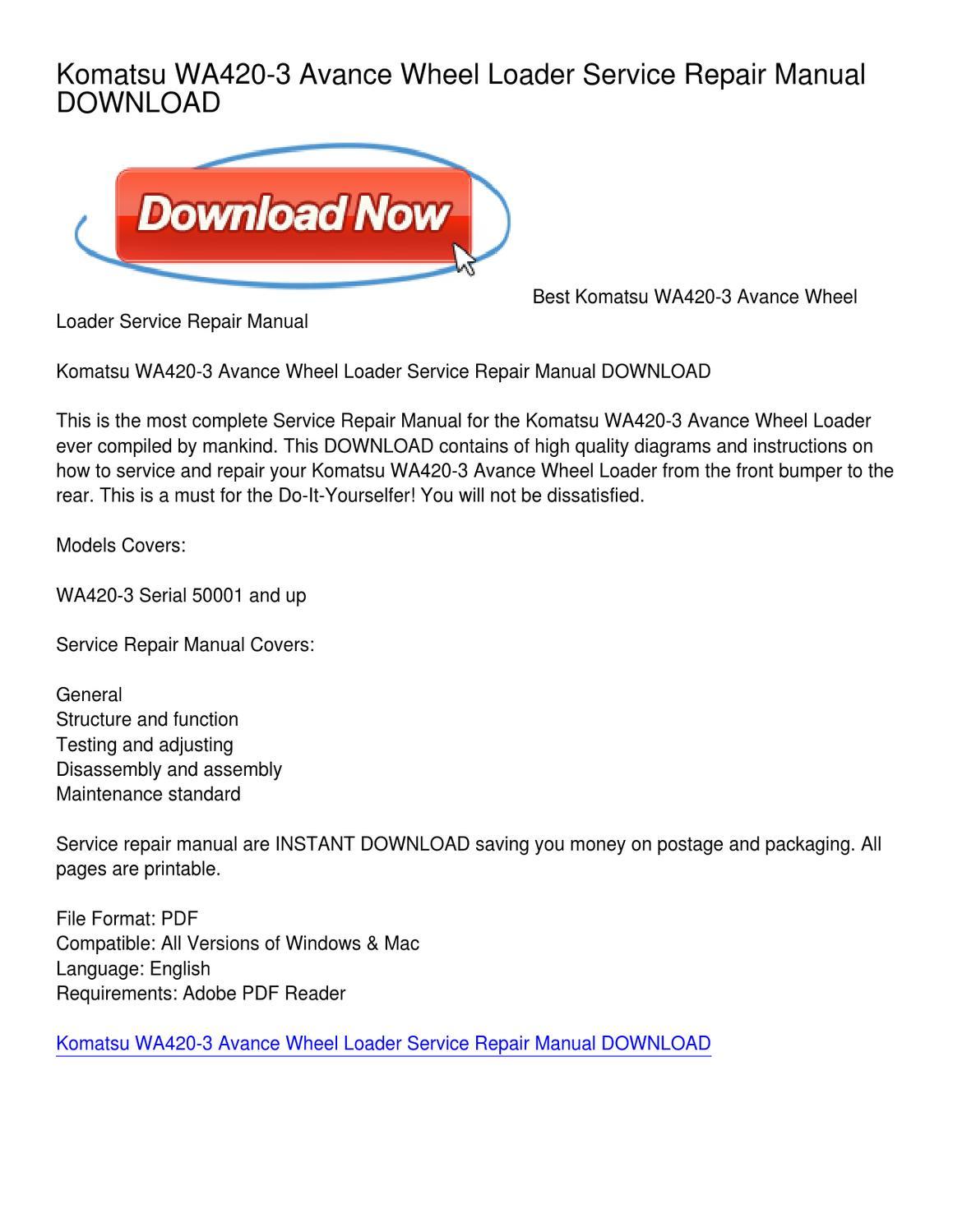 Komatsu WA420-3 Avance Wheel Loader Service Repair Manual DOWNLOAD by  William Nielsen - issuu