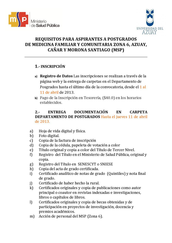 Requisitos Postgrado by Salud Ecuador - issuu