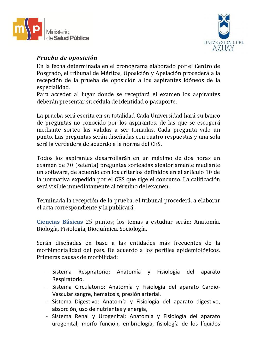Requisitos Postgrado by Salud Ecuador - issuu