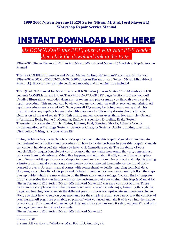 1999-2006 Nissan Terrano II R20 Series Workshop Repair Service Manual by  Jast Liy - issuu