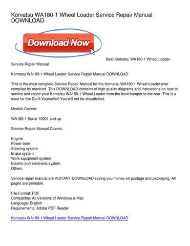 Komatsu WA180-1 Wheel Loader Service Repair Manual DOWNLOAD