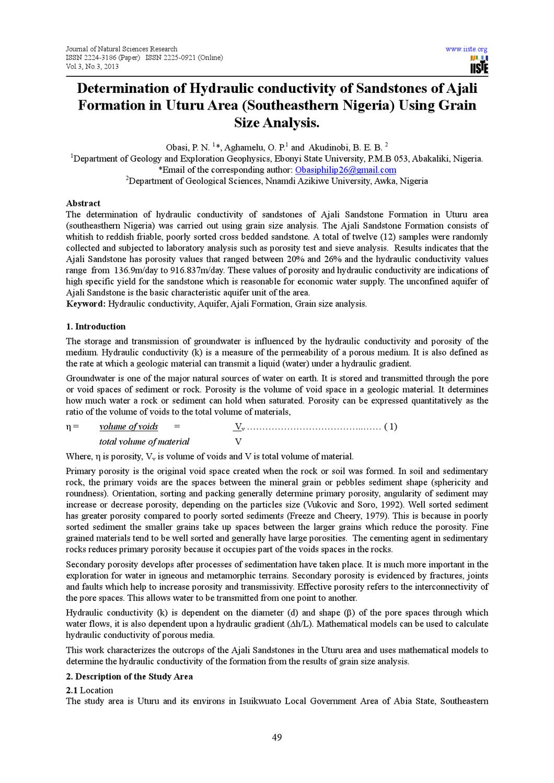 Determination Of Hydraulic Conductivity Of Sandstones Of