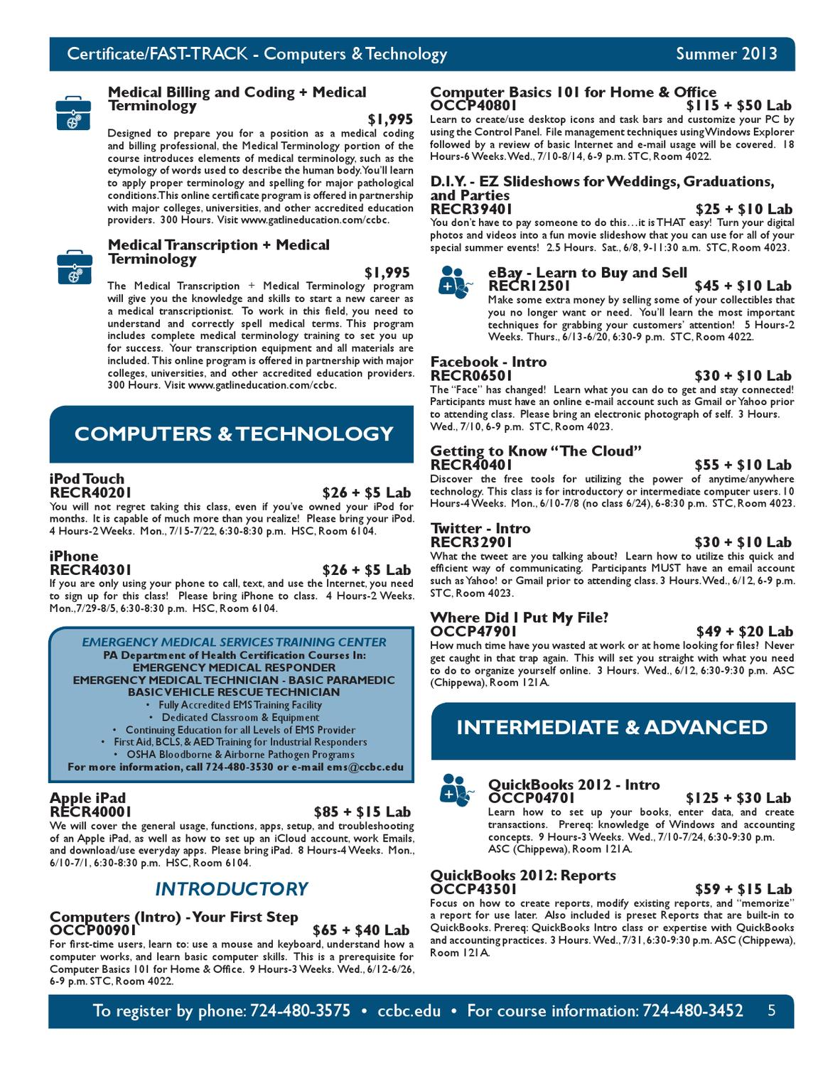 Community College Of Beaver County Summer Non Credit Course Schedule