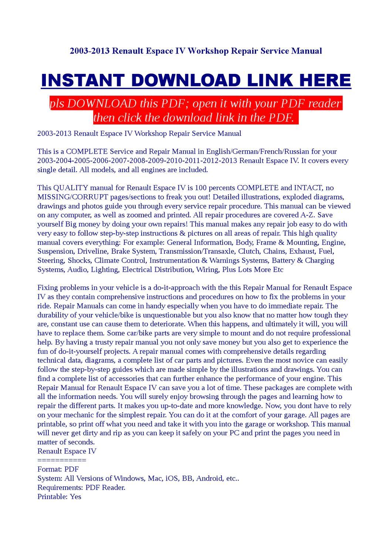 2003-2013 Renault Espace IV Workshop Repair Service Manual by Jast Liy -  issuu