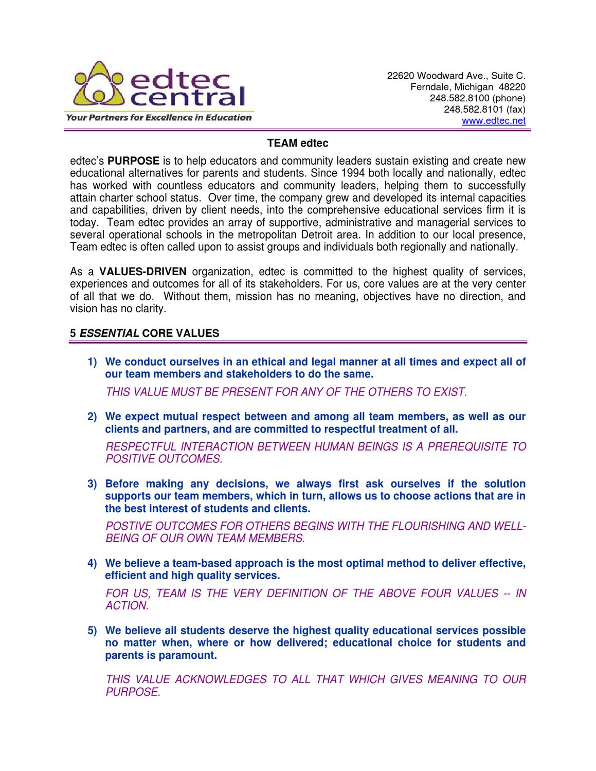No Matter How You Define Quality >> Edtec Central A Core Values Culture By Anna Amato Issuu