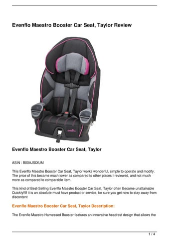 evenflo maestro booster car seat manual