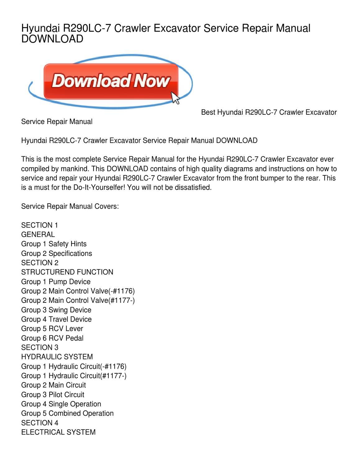 Hyundai R290LC-7 Crawler Excavator Service Repair Manual DOWNLOAD by Henry  Gray - issuu