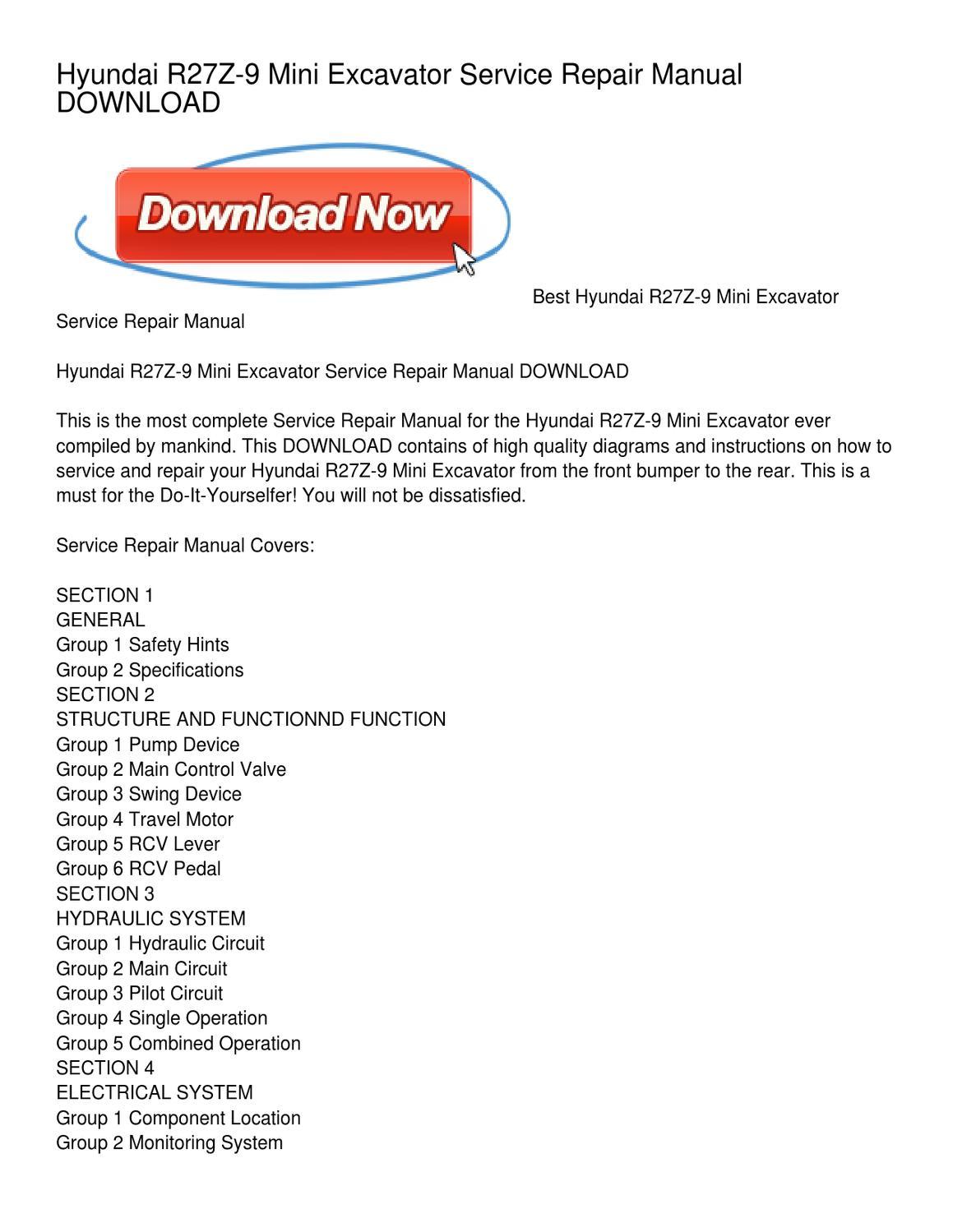 Hyundai R27z 9 Mini Excavator Service Repair Manual Download By Joan Kubota Wiring Diagrams Head Issuu
