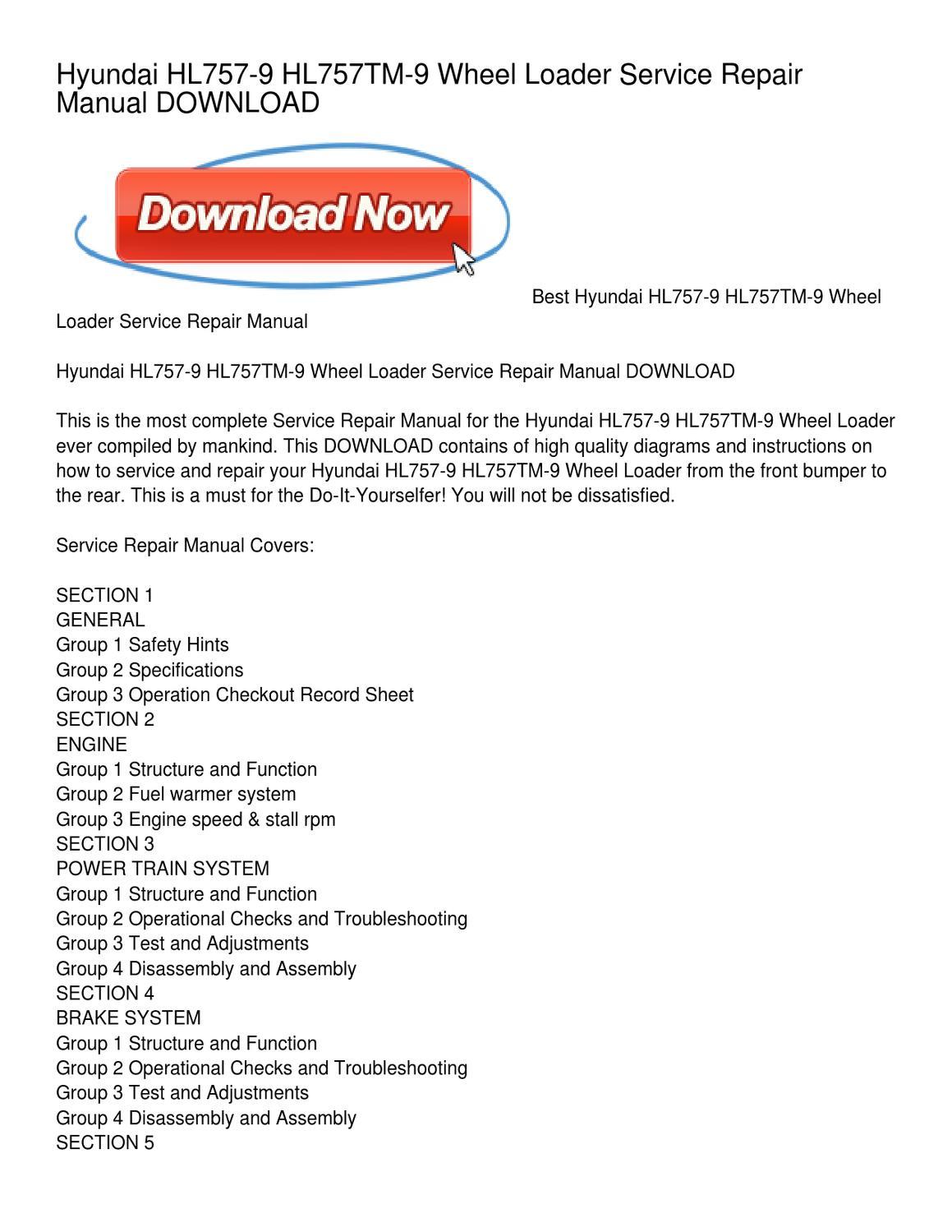 Hyundai HL757-9 HL757TM-9 Wheel Loader Service Repair Manual DOWNLOAD by  Emma Davis - issuu