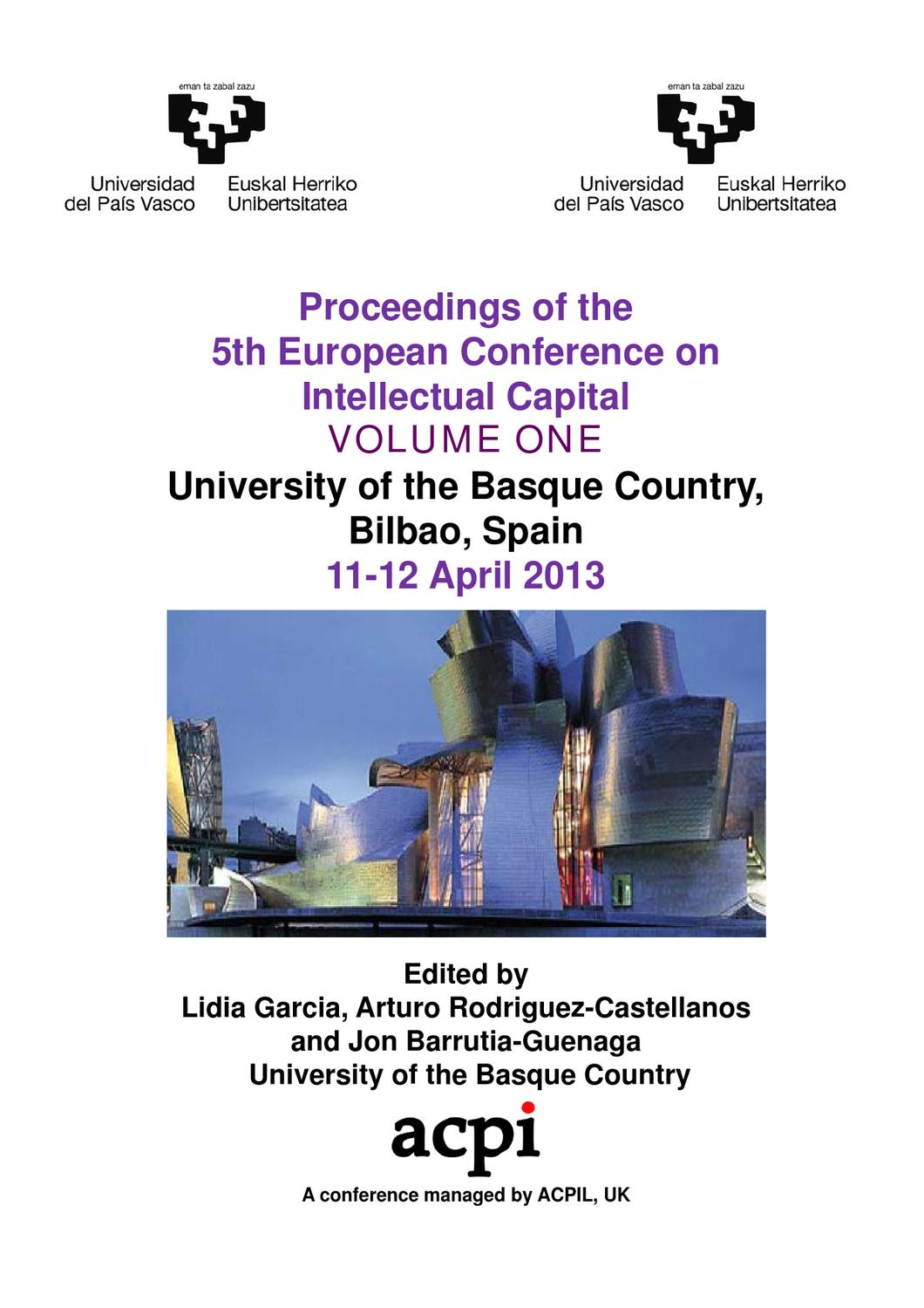 ECIC 2013 Volume One Proceedings of The 5th European Conference on ...