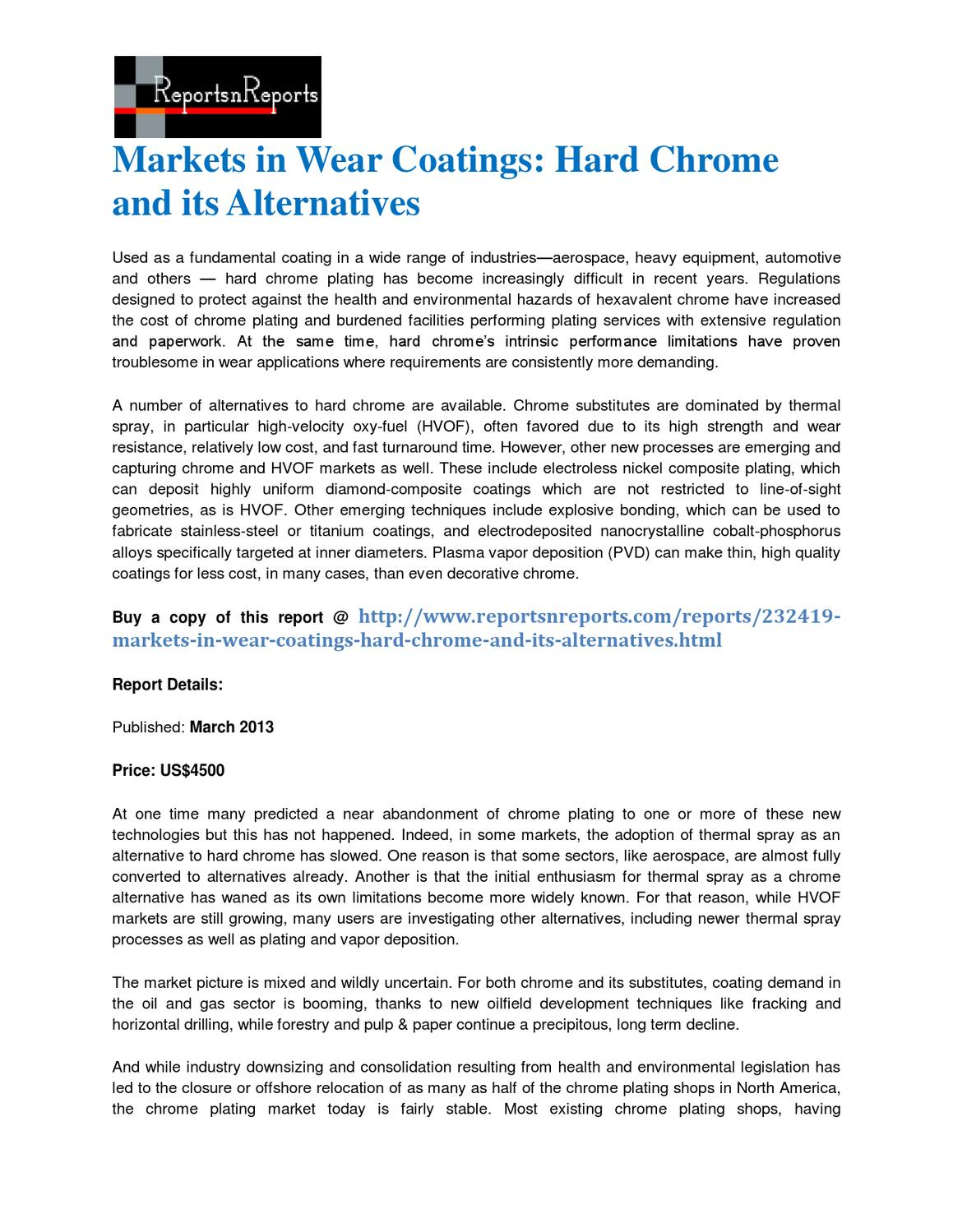 Markets in Wear Coatings: Hard Chrome and its Alternatives by lisa
