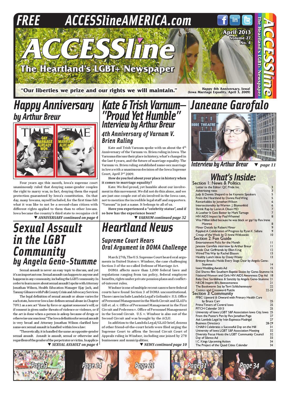 ACCESSline, The Heartland's LGBT+ Newspaper, April 2013 Issue, Volume 27 No  4