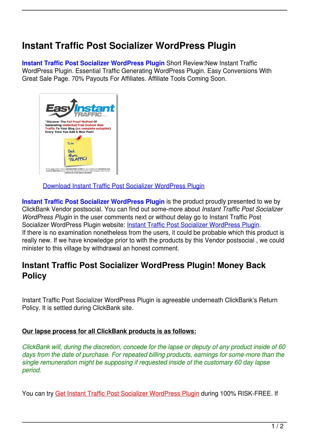 Instant Traffic Post Socializer WordPress Plugin by Hamdouch Bk - issuu