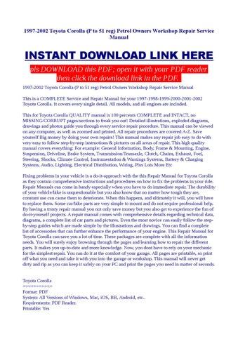 toyota corolla 1998 owners manual pdf